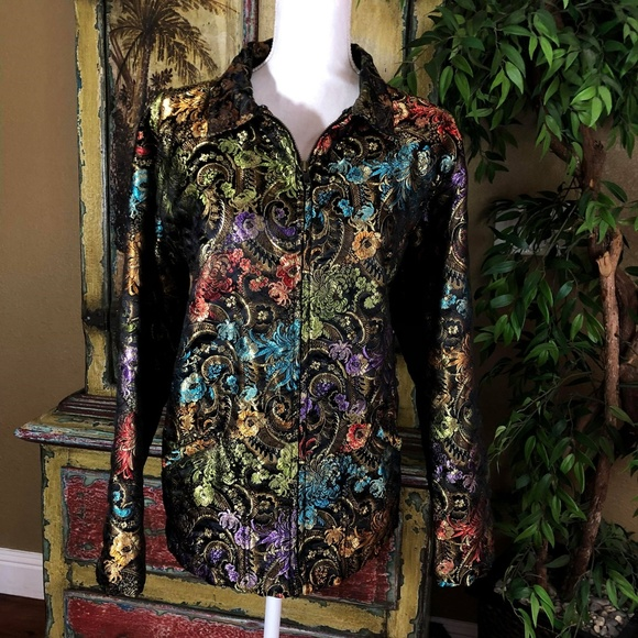 Chico's Jackets & Blazers - Chico's Brocade Tapestry Zip Jacket Size 3 / XL 16